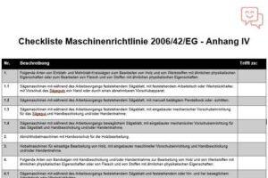 Checkliste Maschinenrichtlinie