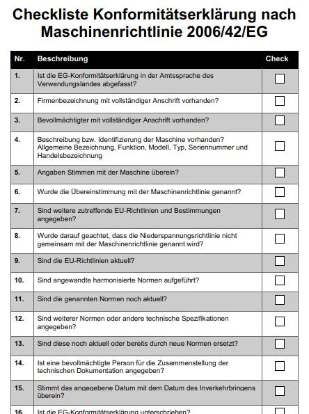 Checkliste Konformitätserklärung Maschinenrichtlinie