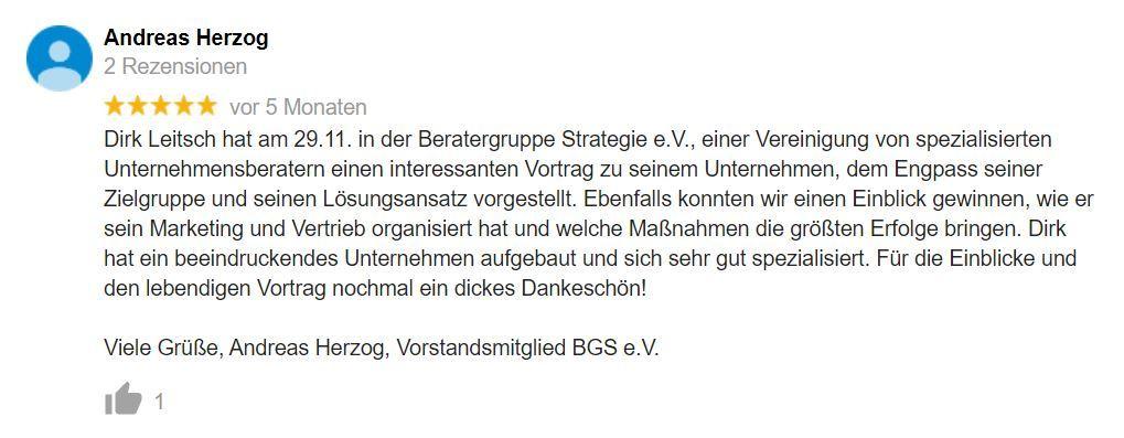 Bewertung Dirk Leitsch von Andreas Herzog