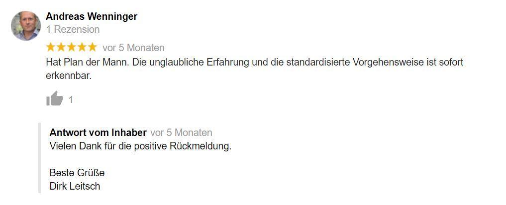 Bewertung Dirk Leitsch von Andreas Wenninger