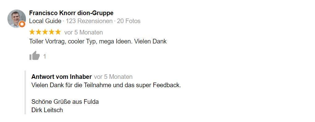 Bewertung Dirk Leitsch von Francisco Knorr