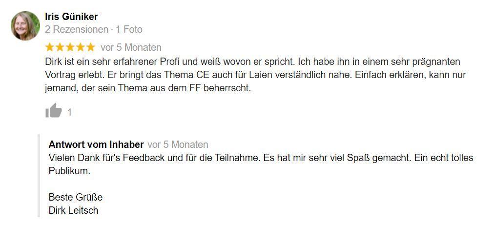 Bewertung Dirk Leitsch von Iris Güniker