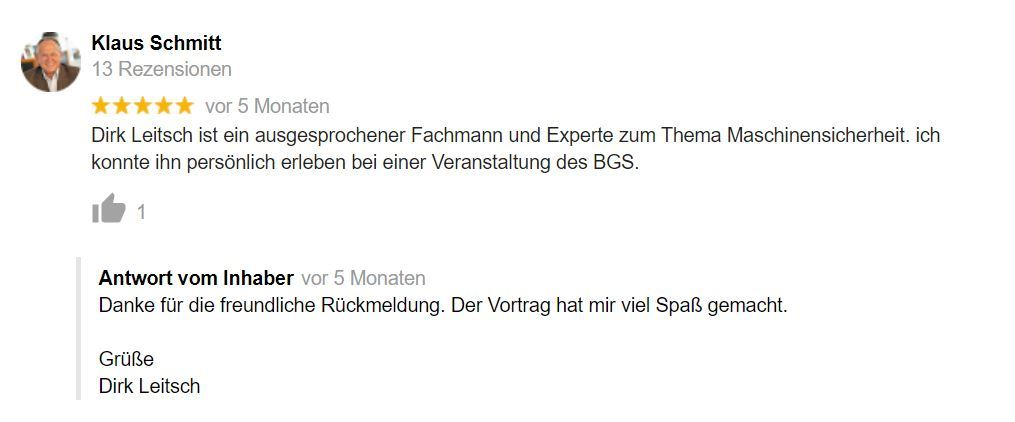 Bewertung Dirk Leitsch von Klaus Schmitt