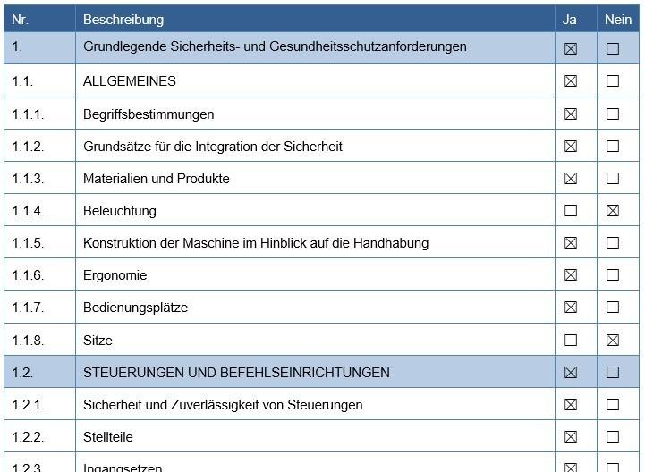 Checkliste Sicherheits- und Gesundheitsschutzanforderungen Maschinenrichtlinie