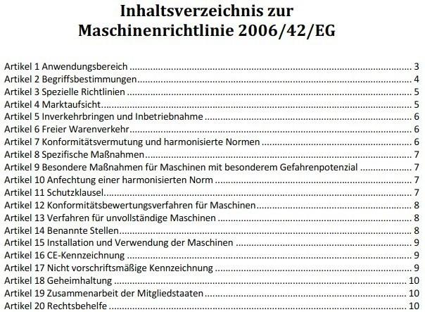 Inhaltsverzeichnis der Maschinenrichtlinie